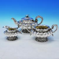 J9615: Antique Sterling Silver Three Piece Tea Set - Barnard Brothers Hallmarked In 1830 London - Georgian - Image 1