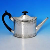 B0738: Antique Sterling Silver Teapot - Peter & Anne Bateman Hallmarked In 1793 London - Georgian - Image 1