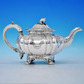 B2077: Antique Sterling Silver Teapot - Angel Bros. Hallmarked In 1838 London - Victorian - Image 1