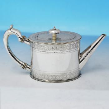 B2195: Antique Sterling Silver Teapot - Andrew Crespell Hallmarked In 1861 London - Victorian - Image 1