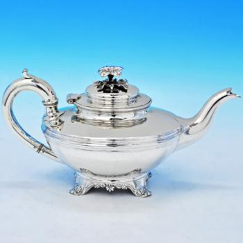 B2196: Antique Sterling Silver Teapot - John James Keith Hallmarked In 1840 London - Victorian - Image 1