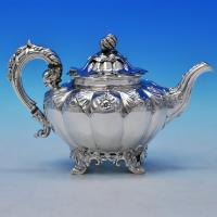 B2256: Antique Sterling Silver Teapot - William Smily Hallmarked In 1859 London - Victorian - Image 1