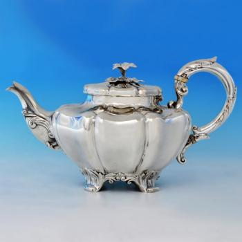 B2283: Antique Sterling Silver Teapot - John Tapley Hallmarked In 1838 London - Victorian - Image 1