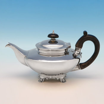 B2285: Antique Sterling Silver Teapot - George Burrows II & Richard Pearce Hallmarked In 1795 London - Georgian - Image 1
