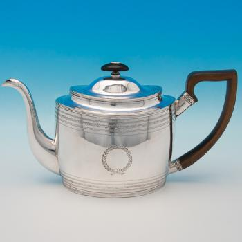 B6279: Antique Sterling Silver Teapot - George Burrows Hallmarked In 1798 London - Georgian - Image 1