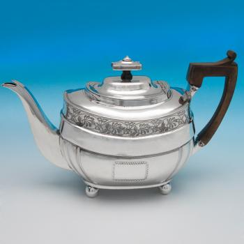 B6295: Antique Sterling Silver Teapots - William Hall Hallmarked In 1812 London - Georgian - Image 1