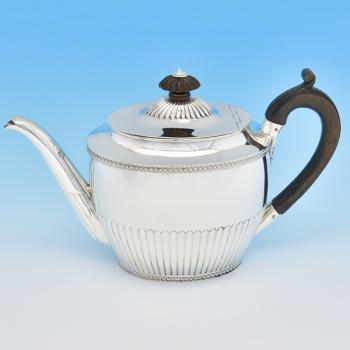 B7699: Antique Sterling Silver Teapot - Dobson & Sons Hallmarked In 1883 London - Victorian - Image 1