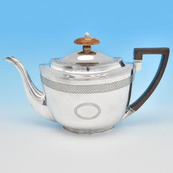 B7932: Antique Sterling Silver Teapot - John Emes Hallmarked In 1804 London - Georgian - Image 1