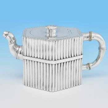 B8216: Antique Sterling Silver Teapot - Barnard Brothers Hallmarked In 1881 London - Victorian - Image 1