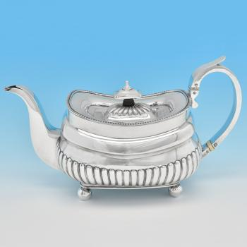 B8234: Antique Sterling Silver Teapot - P&W Bateman Hallmarked In 1813 London - Georgian - Image 1