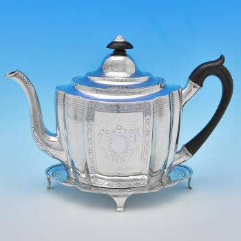 B8385: Antique Sterling Silver Teapots - William & Patrick Cunningham Hallmarked In 1796 Edinburgh - Georgian - Image 1