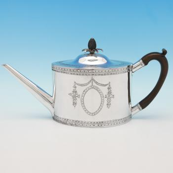 B9394: Antique Sterling Silver Teapot - John Lambe Hallmarked In 1788 London - Georgian - Image 1