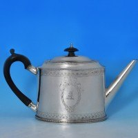 j7574: Antique Sterling Silver Teapot - Hester Bateman Hallmarked In 1781 London - George III Georgian - image 1