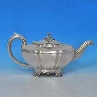 j8697: Antique Sterling Silver Teapot - William Moulson Hallmarked In 1840 London - Victorian - image 1