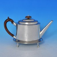 j8736: Antique Sterling Silver Teapot And Stand - Hester Bateman Hallmarked In 1786 London - George III Georgian - image 1