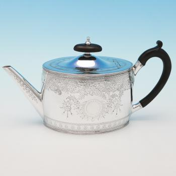 L0395: Antique Sterling Silver Teapot - R Hodd & Son Hallmarked In 1878 London - Victorian - Image 1
