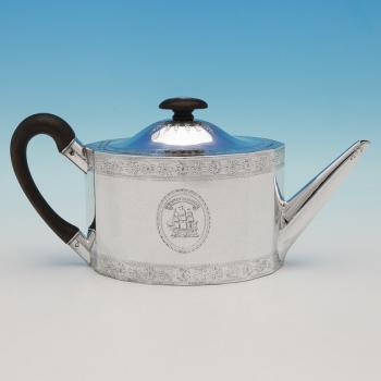 L0537: Antique Sterling Silver Teapot - Fogelberg & Gilbert Hallmarked In 1787 London - Georgian - Image 1
