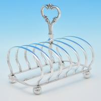 B7021: Antique Sterling Silver Toast Rack - Henry Wilkinson & Co. Hallmarked In 1842 Sheffield - Victorian - Image 1