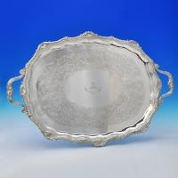 B0383: Antique Sterling Silver Tray - Hawksworth Eyres & Co Hallmarked In 1905 London - Edwardian - Image 1