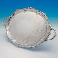 B4817: Antique Sterling Silver Tray - Gibson & Langland Hallmarked In 1898 London - Victorian - Image 1