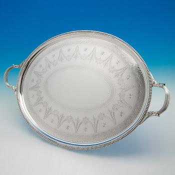 B5659: Antique Sterling Silver Tray - Elkington Hallmarked In 1874 Birmingham - Victorian - Image 1