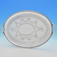 B6745: Antique Sterling Silver Trays - Frederick Elkington Hallmarked In 1875 London - Victorian - Image 1