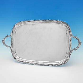 B9508: Antique Sterling Silver Tray - William Bennett Hallmarked In 1817 London - Georgian - Image 1