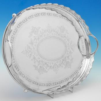 B9841: Antique Silver Plate Tray -  Made Circa 1860 London - Victorian - Image 1