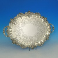 e2198: Antique Sterling Silver Tray - Barnard Brothers Hallmarked In 1855 London - Victorian - image 1