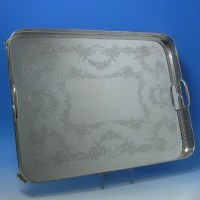 e9336a: Antique Silver Plate Tray - Atkin Brothers Circa 1870 - Victorian - image 1