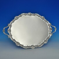 j6303: Antique Sterling Silver Tray - Turner Bradbury Hallmarked In 1895 London - Victorian - image 1