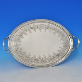 j8425: Antique Sterling Silver Tray - Hallmarked In 1802 London - George III Georgian - image 1