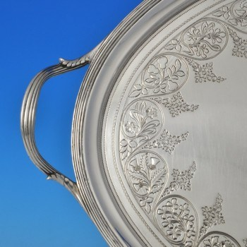j8425: Antique Sterling Silver Tray - Hallmarked In 1802 London - George III Georgian - image 2