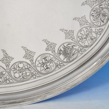 j8425: Antique Sterling Silver Tray - Hallmarked In 1802 London - George III Georgian - image 3
