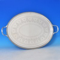 j9662: Antique Sterling Silver Tray - Elkington & Co. Hallmarked In 1890 Birmingham - Victorian - image 1