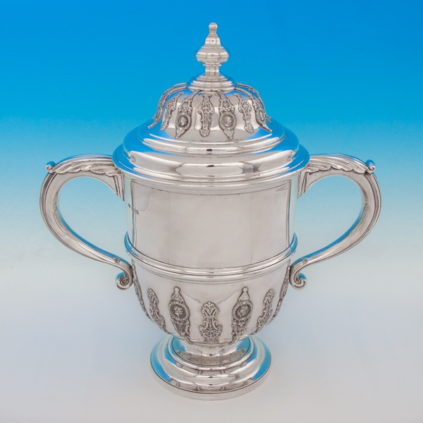 B4930: Antique Sterling Silver Trophy - Goldsmiths & Silversmiths Co. Hallmarked In 1901 London - Victorian - Image 1