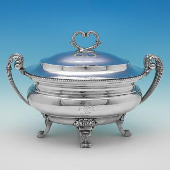 B1522: Antique Sterling Silver Tureen - William Pitts Hallmarked In 1799 London - Georgian - Image 1