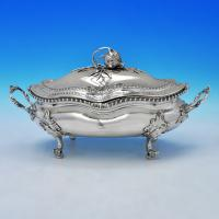 B2174: Antique Sterling Silver Soup Tureen - Sebastian & James Crespell Hallmarked In 1772 London - Georgian - Image 1