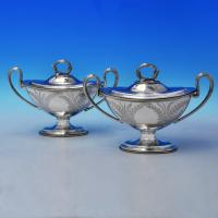 B2467: Antique Silver Plate Pair Of Sauce Tureens - Martin Hall & Co. Made Circa 1880 Unknown - Victorian - Image 1