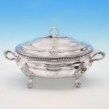 B3991: Antique Sterling Silver Soup Tureen - Charles Frederick Kandler Hallmarked In 1766 London - Georgian - Image 1