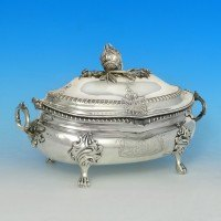 j0747: Antique Sterling Silver Soup Tureen - John Hawkins Hallmarked In 1813 London - George III Georgian - image 1