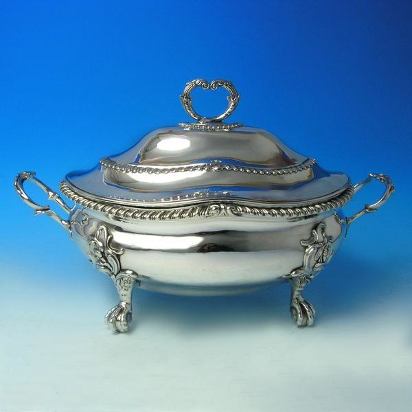 j2774: Antique Sterling Silver Soup Tureen - Lewis Herne & Francis Butty Hallmarked In 1766 London - George III Georgian - image