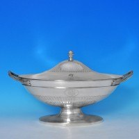 j7195: Antique Sterling Silver Soup Tureen - John Wakelin & William Taylor Hallmarked In 1784 London - George III Georgian - ima