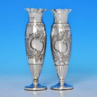 B0824: Antique Sterling Silver Pair Of Vases - Elkington & Co. Hallmarked In 1892 Birmingham - Victorian - Image 1