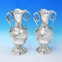 B3260: Antique Sterling Silver Pair Of Vases - William Hutton Hallmarked In 1903 London - Edwardian - Image 1