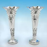 B4846: Antique Sterling Silver Pair Of Vases - Henry Matthews Hallmarked In 1903 Birmingham - Edwardian - Image 1