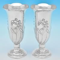 B7092: Antique Sterling Silver Vases - Frederick Burridge Hallmarked In 1901 London - Victorian - Image 1