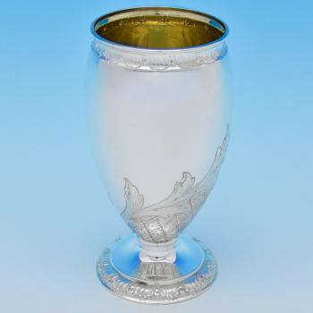 B8349: Antique Sterling Silver Vase - Elkington & Co. Hallmarked In 1889 Birmingham - Victorian - Image 1