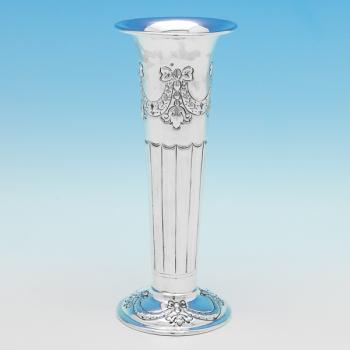 B9483: Antique Sterling Silver Vase - Henry Atkins Hallmarked In 1895 Sheffield - Victorian - Image 1