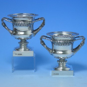 d5023: Sterling Silver Pair Of Vases - Walker & Hall Hallmarked In 1936 Sheffield - George VI  - image 1